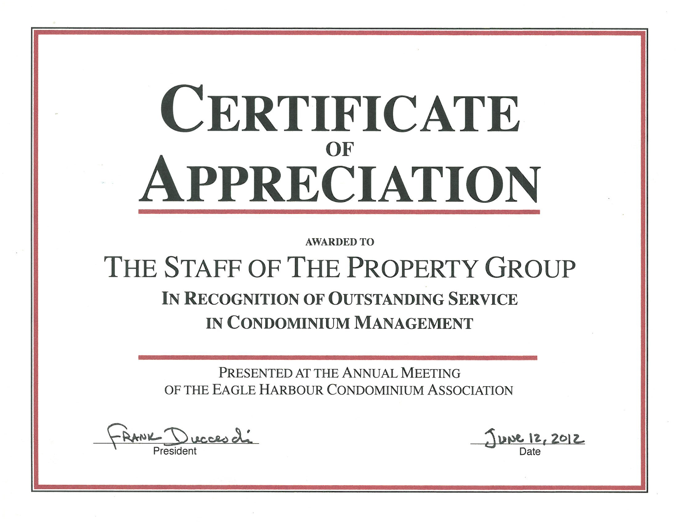 Certificate Of Recognition The Property Group